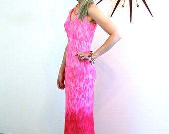 LESLIE FAY Maxi Dress, Vintage 70s Maxi, Bright Pink Ombre, Empire Waist gown, Long Sleeveless dress, Floor Length dress, Mad Men Fashion