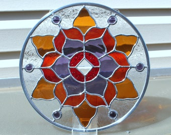 Round Stained Glass Panel in Red, Purple and Amber