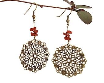 Art deco earrings vintage Red jasper earring Vintage jewelry Dangle long earring Jasper jewelry Art deco jewelry Hipster earring dangle Mayi