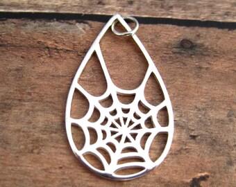Sterling Silver Cutout Spiderweb  Pendant Charm