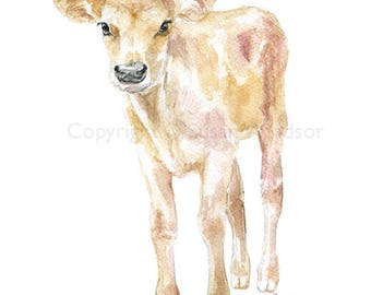 Jersey Cow Calf Watercolor Painting 8x10 [8.5x11] Fine Art Giclee Reproduction Nursery Art