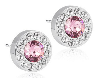 Halo Earrings, Light Rose, Blomdahl Earrings, Swarovski Crystal,  Earrings for sensitive Ears, Medical Grade Titanium Earrings