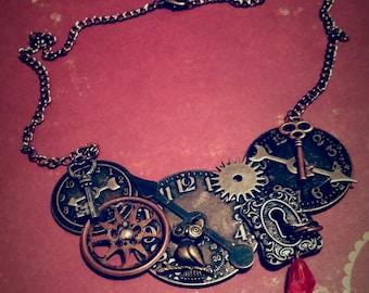 Steampunk Clock Owl Bib Necklace