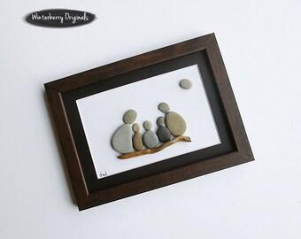 "Pebble Art: Family of 5 on Driftwood-6"" x 8"" brown frame, black mat, original wall art, stone art, rock art, personalized family art"