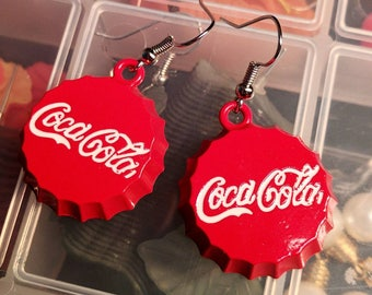 Large Red Coca Cola Earrings