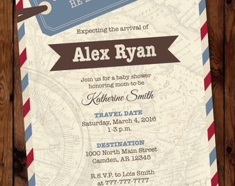 Travel Shower Invitation, Travel Baby Shower Invitation, Travel Themed Invitation, Map Invitation, Oh the Places He Will Go Invitation,