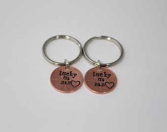 Lucky Us Keychain, Personalized Keychain Set, His and Hers, Couple Gifts, Wedding Gift, Anniversary Gift, Boyfriend Gift, Girlfriend Gift