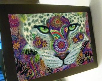 greeting card zentangle leopard jaguar  blank card