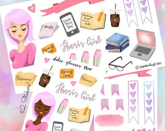 Thesis Girl Planner Sticker -Happy Planner/Passion Planner/Filofax/Bullet Journal/Traveler's Notebook/MAMBI Stickers