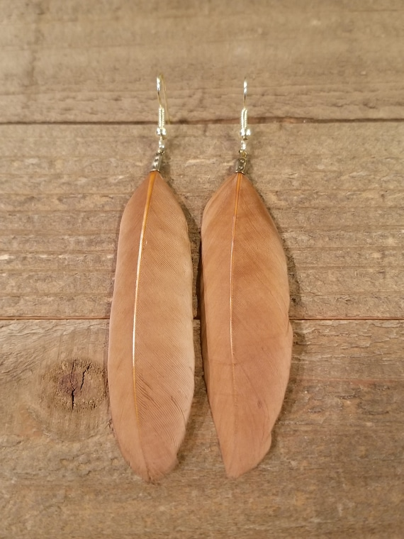 Tan Feather Dream Catcher Base Drop Down Dangle Native American Earth Jewelry Hippie Boho Natural Style (E139)