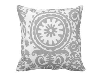 SALE   50% OFF: 18x18 Pillow Cover Grey Pillow Cover Gray Pillow Grey Throw Pillow Cover Suzani Pillow Paisley Pillows Decorative Pillows