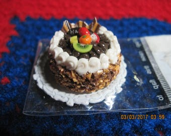 Doll House Miniature Food German Chocolate Cake HAPPY w/ Vanilla Icing Trim & Mixed Fruit/Chocolate Curls
