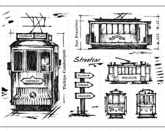 Streetcar Clear Rubber Stamp Set w/ street car, trolley, sign, measurement, drawing, art stamp, paper craft, scrapbook, san francisco,
