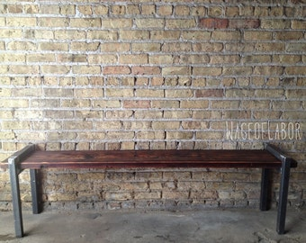 Reclaimed Wood and Metal Bench - The Post Bench // Large