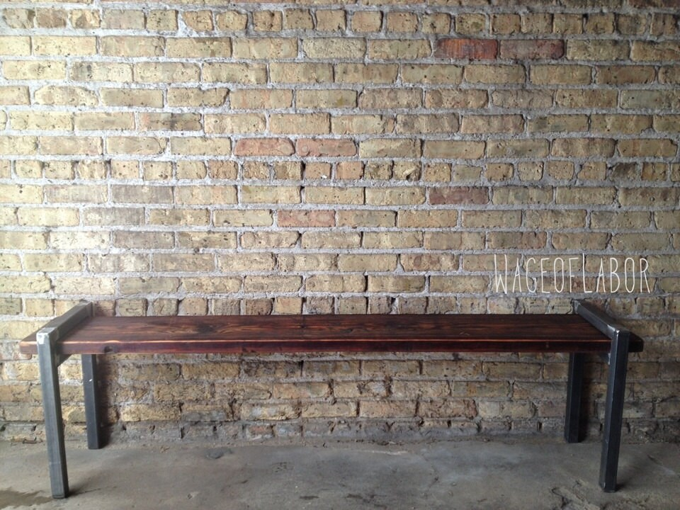 Beautiful Reclaimed Wood and Metal Bench The Post Bench // Large FA73