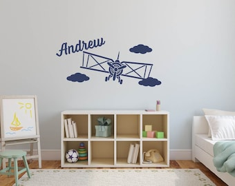 Custom Name personalize Wall Airplane Clouds Biplane Retro Vinyl Sticker Decor Mural
