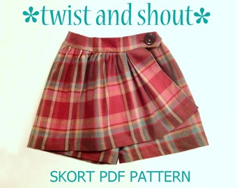 Twist & Shout - Girl's Skort PDF Sewing Pattern. Girl Sewing Pattern. PDF Skirt Pattern. Toddler Pattern. Sizes 1-10