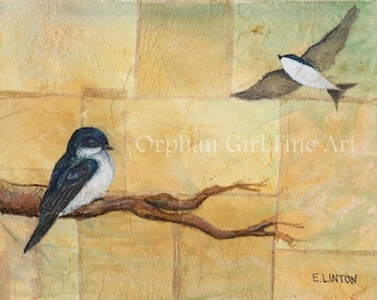 Tree Swallow Painting, Songbird Art, Bird Art Print, Bird Painting, Wildlife Painting, Animal Art Print, Bird illustration, Bird Home Decor