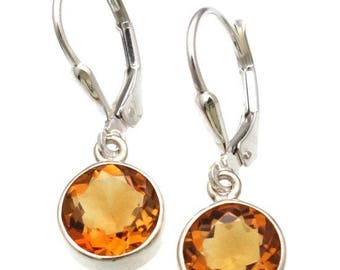 Citrine Lever Back Earrings in Sterling Silver Bezel Setting