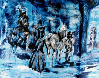 Large Blue Scarf, Free Shipping, Gifts Under 20, Coat Scarf, Rayon Scarf, Horses Mission People, Don Quixote, Japan Accessory Japan 1950