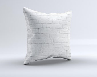 White Brick Wall ink-Fuzed Decorative Throw Pillow