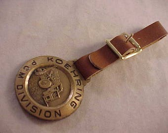 Koehring PCM Division Advertising Watch Fob With Brown Leather Strap