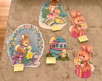 Five (5) Easter Die Cuts for Window, Table, Classroom or Other Decor