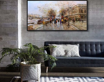 "Paris Painting Hand-Painted Oil Painting on Canvas 24x48"" /60x120cm"
