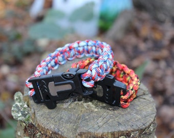 Paracord Survival Bracelet - Cobra Weave - Fishtail Weave - Flint & Steel - Whistle - Buckle - Multiple Colours Available