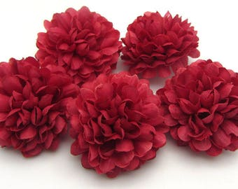 Set of 4 artificial flowers in Burgundy fabric