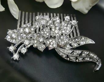 Crystal Bridal Hair Comb, Floral Wedding Hair Comb, Clear Crystal Rhinestone, Wedding Headpieces, Bridal Hair Accessories, Flower Hair Clip