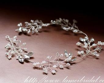 Hand made Rhinestone Crystal Bridal hair vine, silver crystal Wedding Wreath ,Bridal Vine of  Rhinestone, sliver crystal hair vine