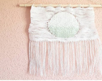 Luna Ortus Weave Wallhanging: Weaving, Wallhanging, Moon, Luna, Sunrise, White, Green, Wood, Delicate