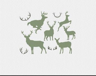 deer and antlers svg dxf file instant download silhouette cameo cricut clip art commercial use