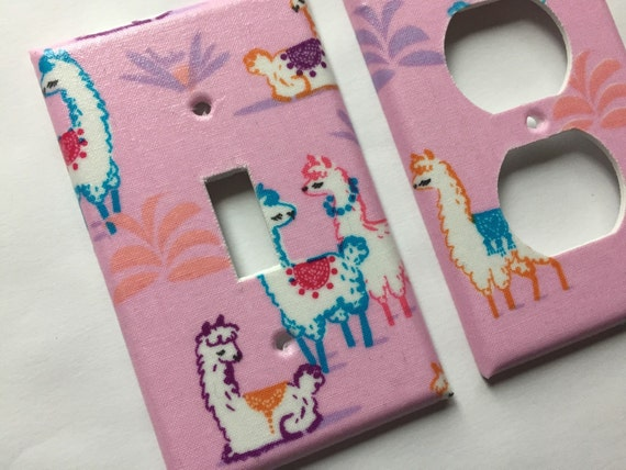 Llama Light Switch Cover / Single Light Switch Plate / Pink