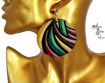 3D Rasta Reggae Striped Earrings, Big Lightweight Hand Painted Wooden Afrocentric Pan African Natural Hair Earrings,Abstract Art Earrings