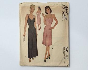 1940s B36 Slip / Dress Sewing Pattern : McCall's 6646