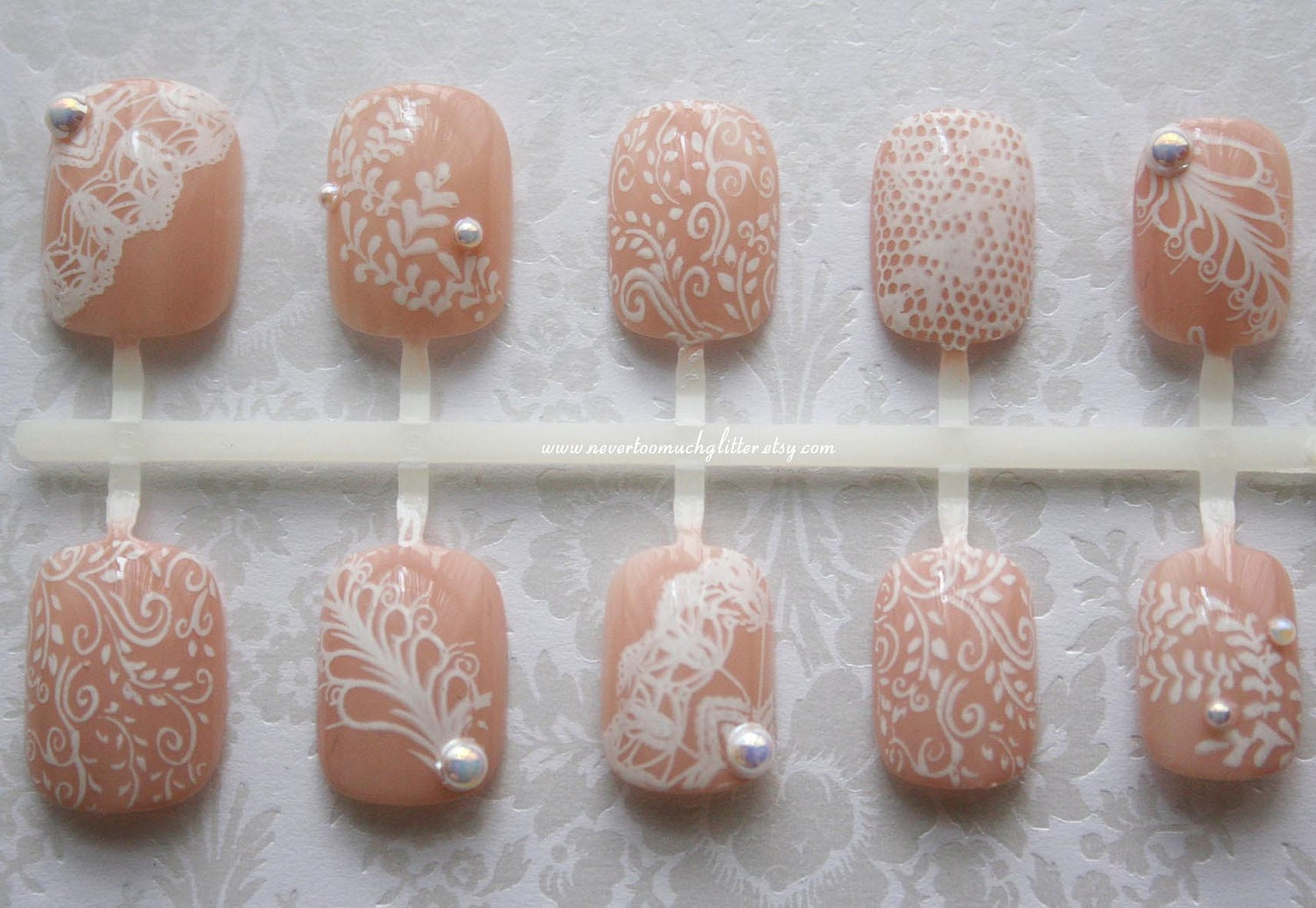 Nice Wedding Lace Nail Designs Images