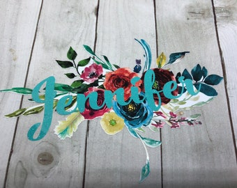 Watercolor, Floral, Custom, Vinyl Decal, Name, Personalized, Yeti, Laptop, Tumbler, Boho, Feather, Flowers, Sticker