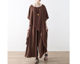 Womens Summer Loose Fitting Irregular Chiffon Blouses And Loose Pants With Pockets, Two Pieces Set, Casual Blouses,Chiffon Tops,Casual Pants