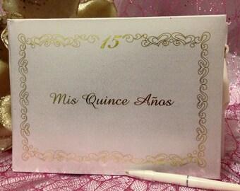 Sweet 15 Mis Quince Anos Guest Book Libro de Firmas