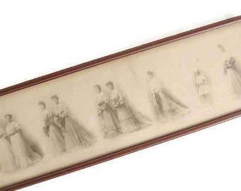 Victorian Wedding Studio Portrait, Bride, Bridesmaids, Maid of Honor, Flower Girl, Framed