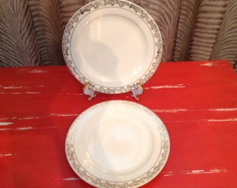 """Edwin M. Knowles Semi Vitreous China Floral Gold Trim Set of 2 Plates 6 1/2"""" D"""