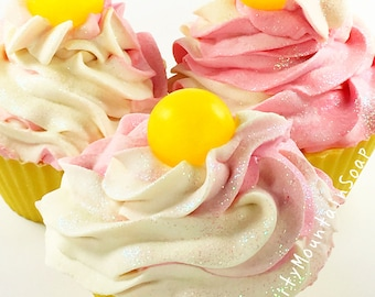 STRAWBERRY BANANA Soap Cupcake Soap Cupcakes Novelty Gift Ideas Mothers Day Bath And Body Birthday Gift For Kids Soap Party Favors