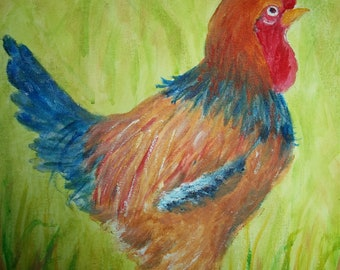 Rowdy Rooster. Original acrylic painting