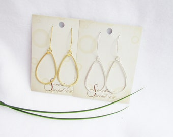 Teardrop Earrings In Gold and Silver