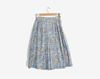 Vintage 50s FULL SKIRT / 1950s  Blue & White Baroque Print Cotton Skirt s
