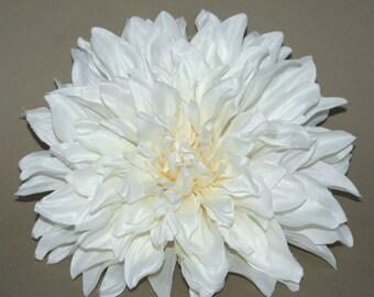 Ivory Cream Dinner Plate Dahlia - Artificial Flower, Silk Flower
