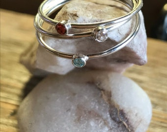 Stackable rings, stackable rings, gem stone stackables, trailertrashjewelry1