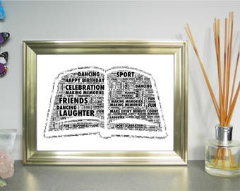 Open Book - Personalised Word Art Print, FREE UK P&P. Life Story Print, Anniversary, Birthday. Word Art Collage, Digital Art, Word Cloud